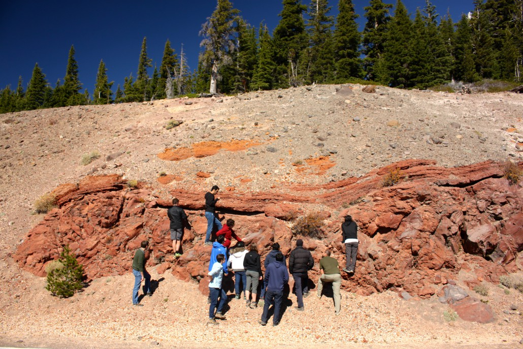 Layered flow deposits on the rim of the Mazama caldera. Photo credit: Thomas Giachetti