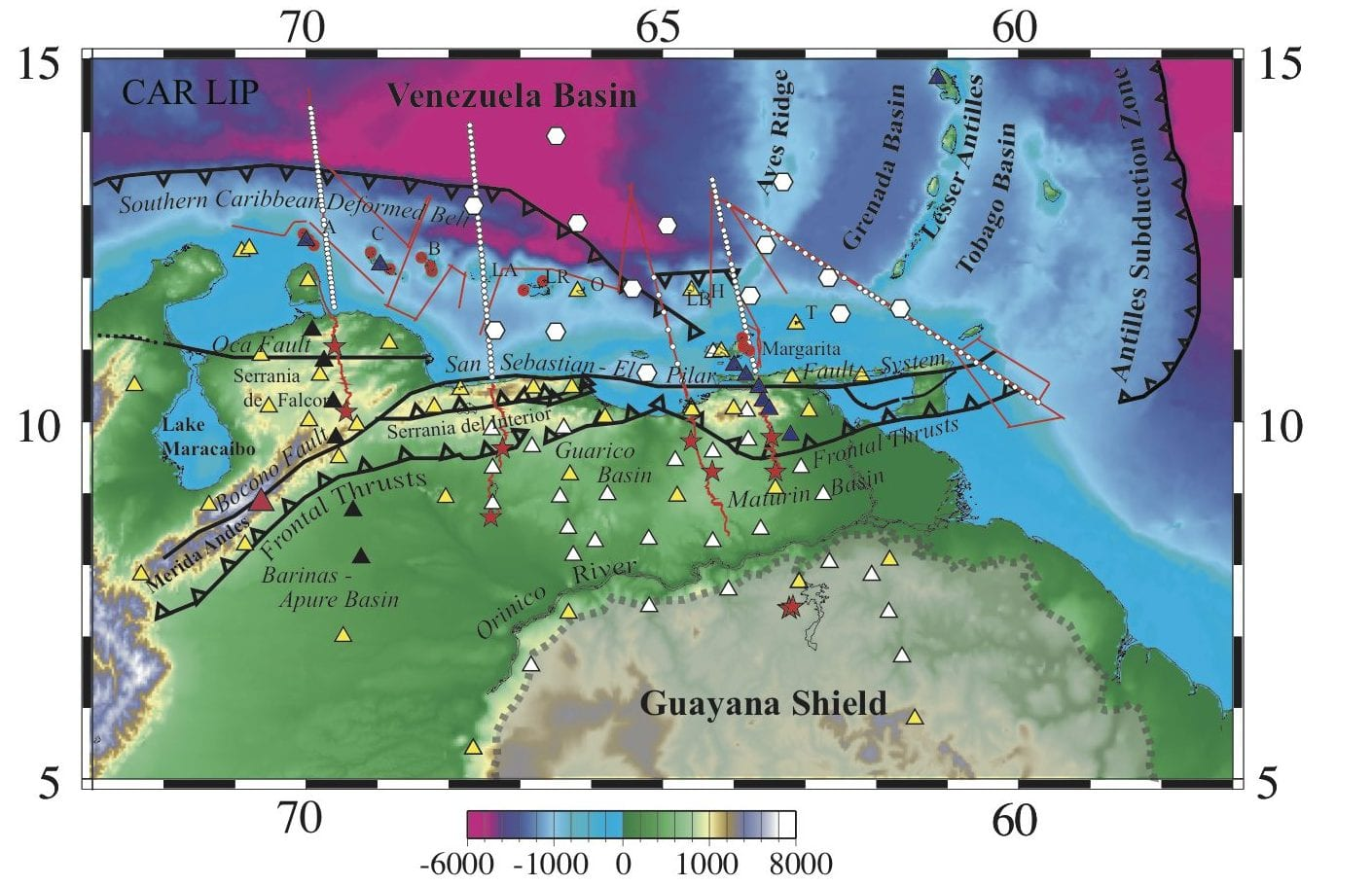 BOLIVAR Experiment: Active source OBS (white circles), marine reflection (red), and onshore-offshore profiles (red) and land shots (red stars). BOLIVAR Broadband Instruments: Land (yellow and white triangles) and OBS (white hexagons).